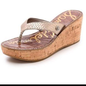 Sam Edelman Romy Wedge Sandals Soft Gold 10